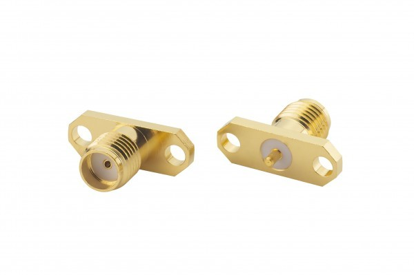 SMA Straight Panel Mount, Jack with 2 mounting holes (front & back)